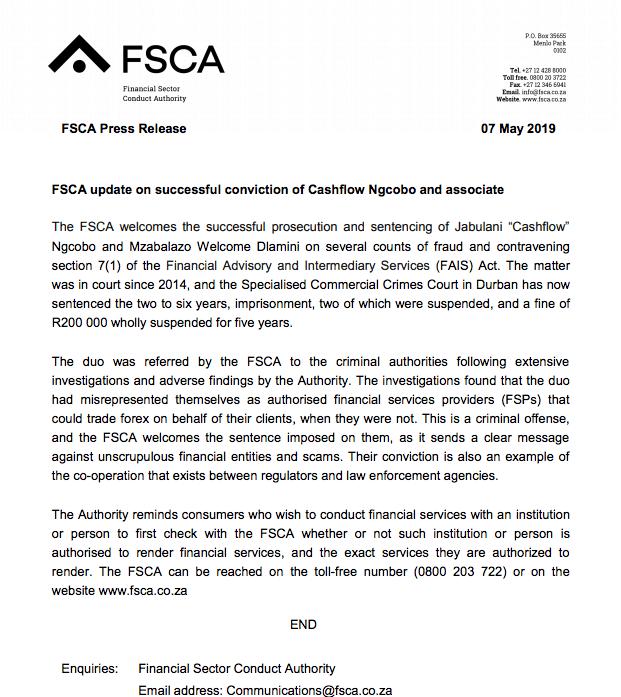 FSCA statement