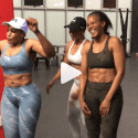 Connie Ferguson shows off her six-pack