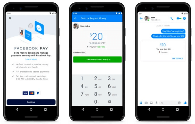 Facebook Pay on Facebook or Messenger