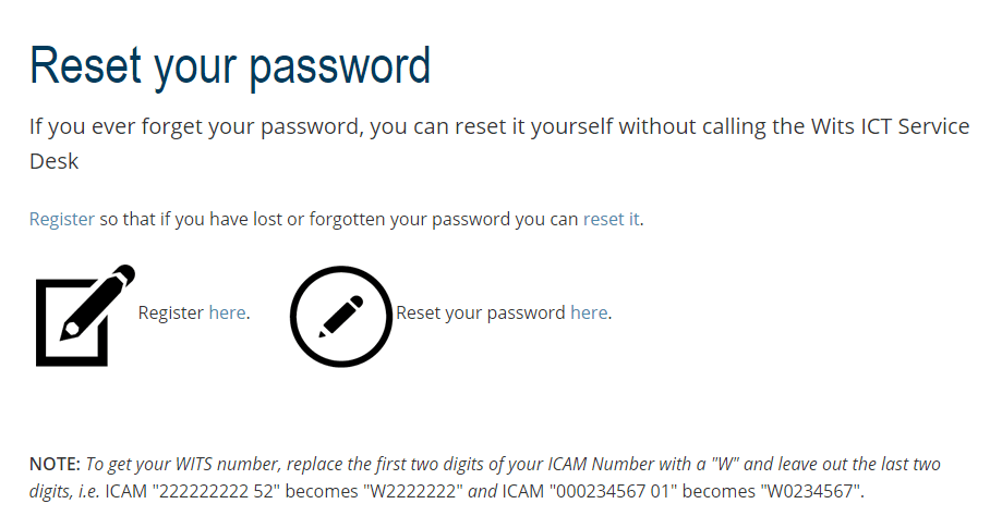 How to reset Wits Self Service Password