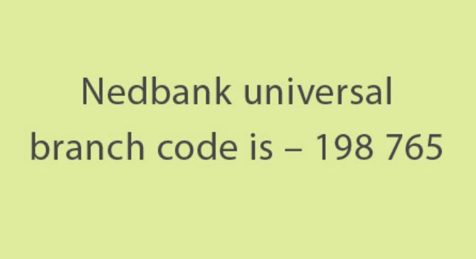 nedbank universal branch code