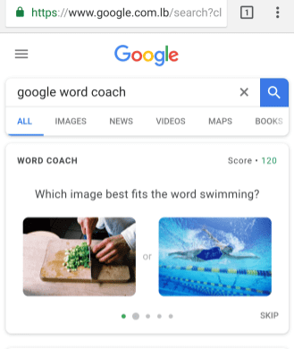 Google Word Coach game