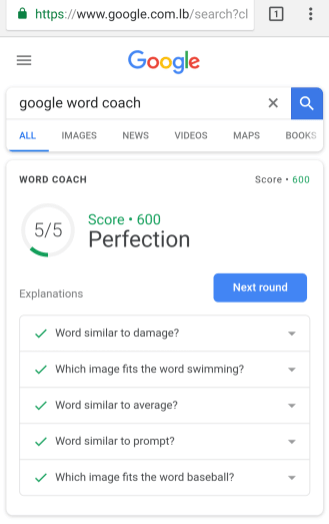 Google Word Coach quiz game