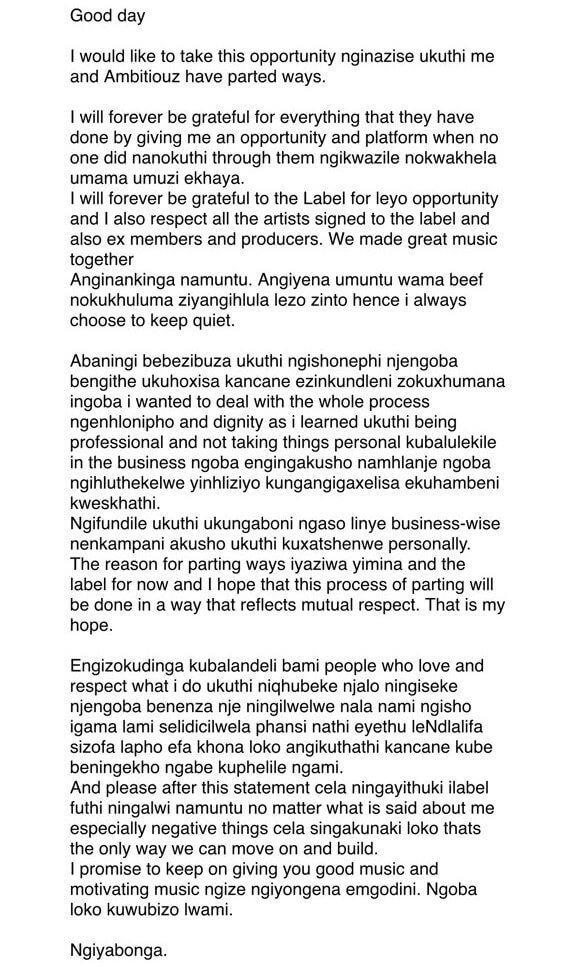 Sjava quits Ambitiouz Records