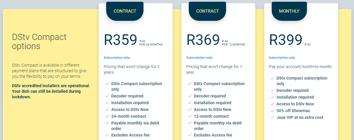 DStv Compact Prices 2020
