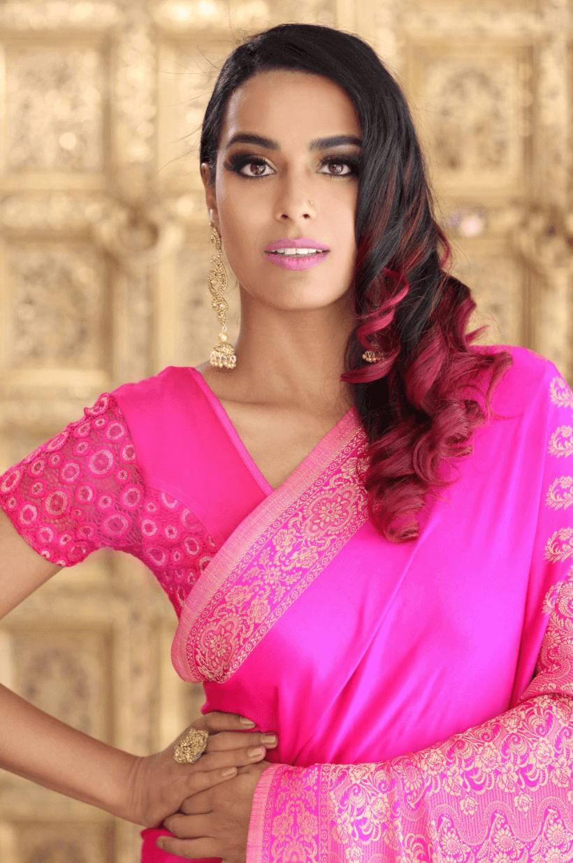 Kriya Gangiah In A Pink Sari