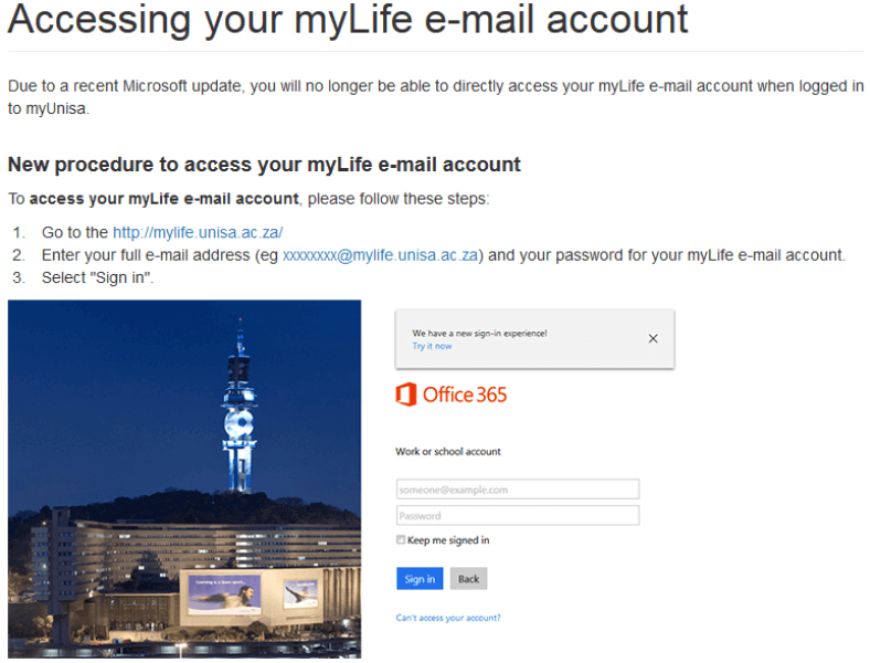 Accessing your myLife e-mail account