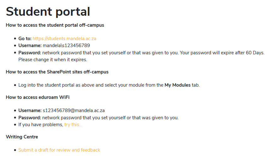 How to Access NMU Student Portal