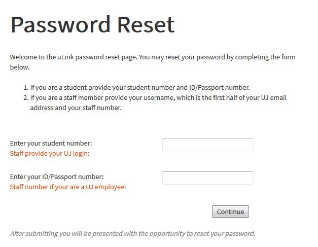 UJ uLink Password Reset