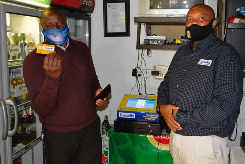 bonsella member with Xolani Radebe, Liquor Brand Manager for bonsellla
