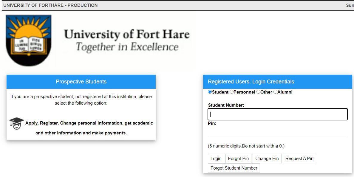 UFH Student Online Login