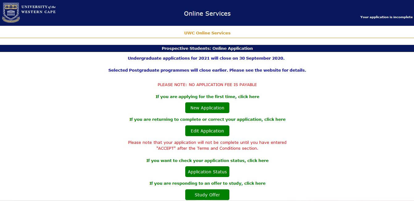 UWC Student Portal Login