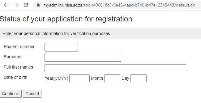 UNISA Registration Status Tool