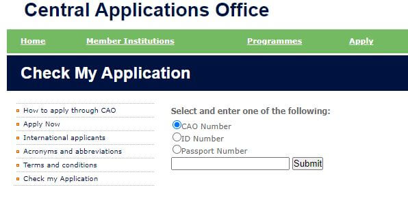 CAO Login Check My Application Status