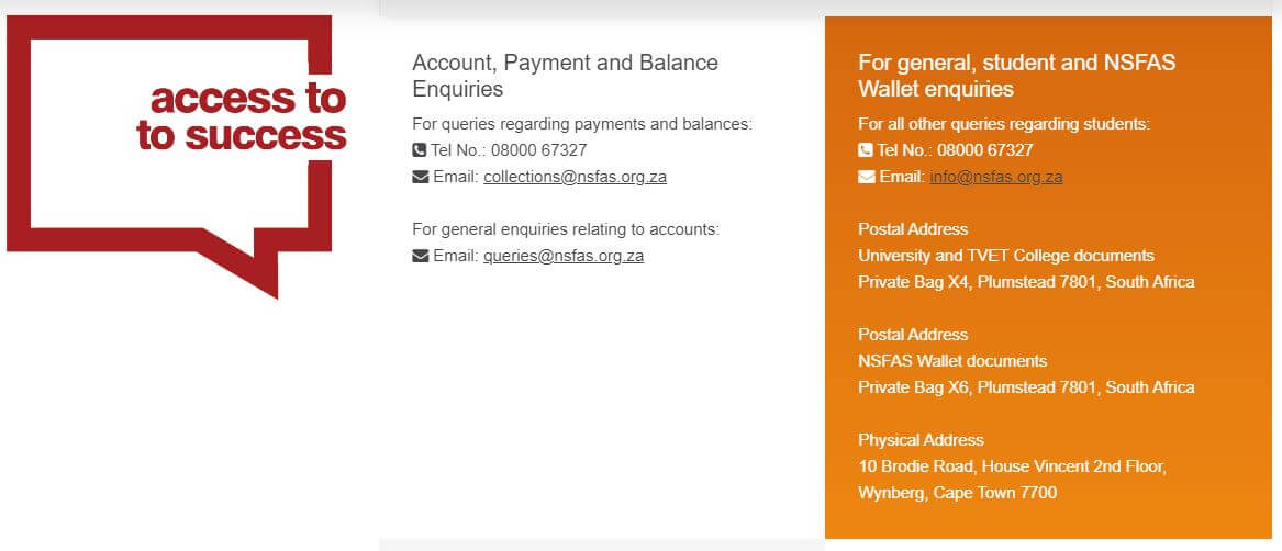 Contact Details for NSFAS