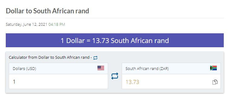 Dollar to Rand