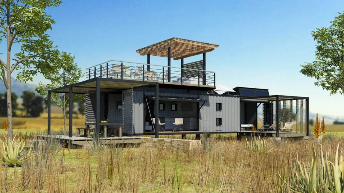 Pop Up retreat shipping container house