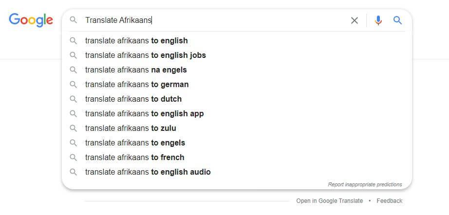 Afrikaans into English Translation
