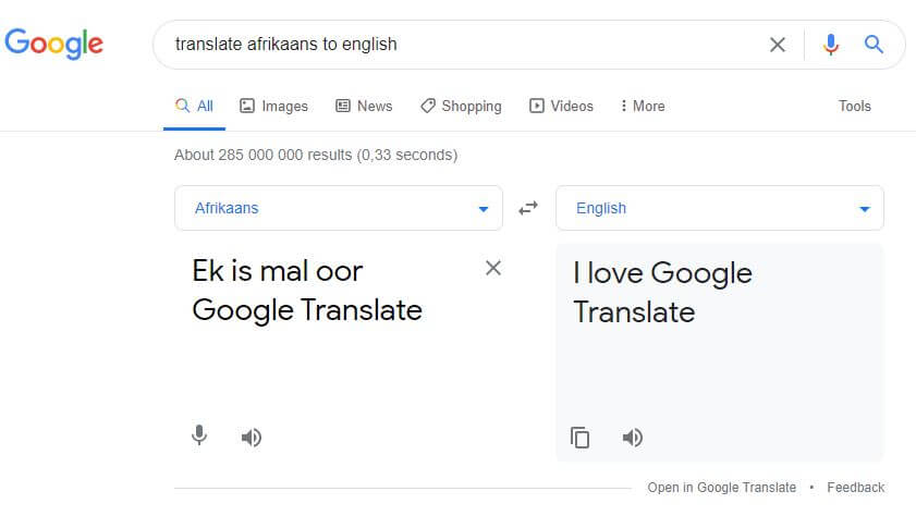 Translate Afrikaans to English