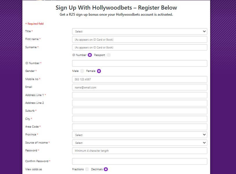 Hollywoodbets Account in South Africa
